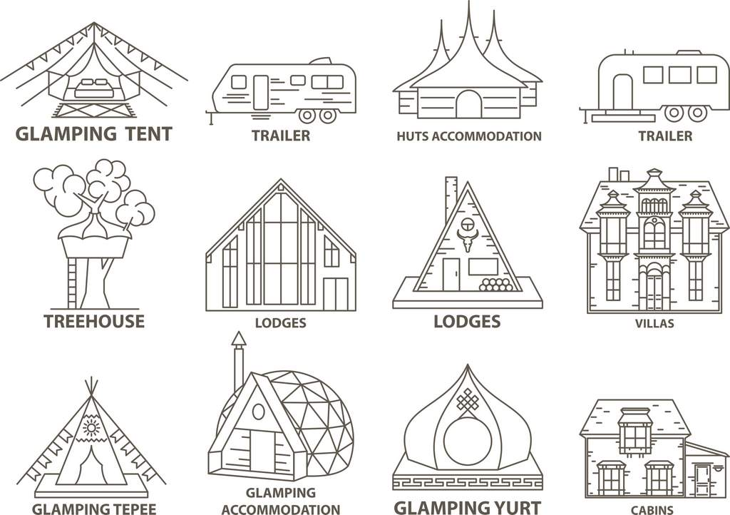 Glamping accommodation styles; glamping tent, trailer, huts, lodges, glamping tepee, yurt and cabins
