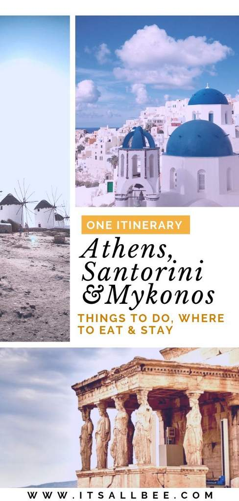 Greece Itinerary - The Perfect Itinerary For Athens Santorini And Mykonos - Plus things to do in each, where to eat and where to stay!
