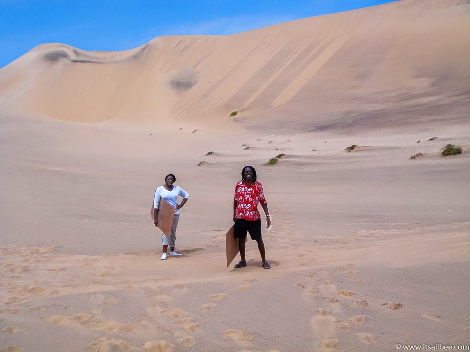 Amazing places to visit in Namibia - Tops tips on the best places to visit in Namibia Africa - From Deadvlei, Sossusvlei, Himba people, Skeleton Coast, Etosha Park, Walvis Bay, Swakopmund, Dune 45 and experience sandboarding and dune bashing, kayaking the Atlantic, and amazing safari parks. #africa #traveltip #adventure #sandboarding #flights #packingtips www.itsallbee.com
