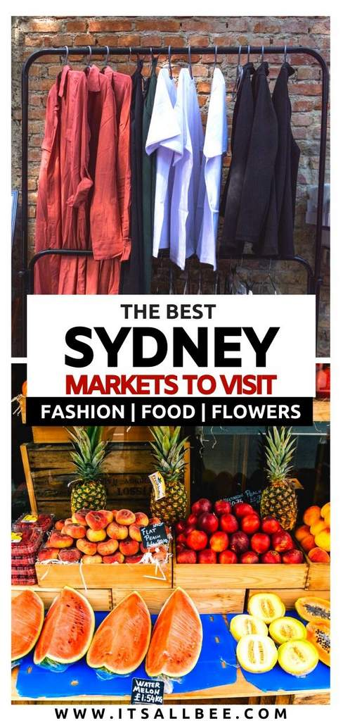 The Best Markets In Sydney Australia - Whether you are looking for the best markets for fashion, vintage markets, vegan, organic markets, food, and more. There is something for everyone. From Glebe market, Balmain market, Marrickville organic market, China town markets and Bondi markets, carriage works, The Rocks market. For more on best places for shopping in Sydney check out my Sydney Market Guide! #itsallbee #oceania #adventure #traveltips #shopping