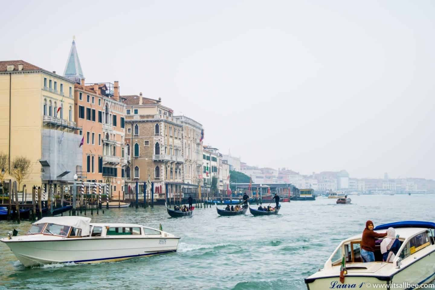 Venice taxis on the grand canal