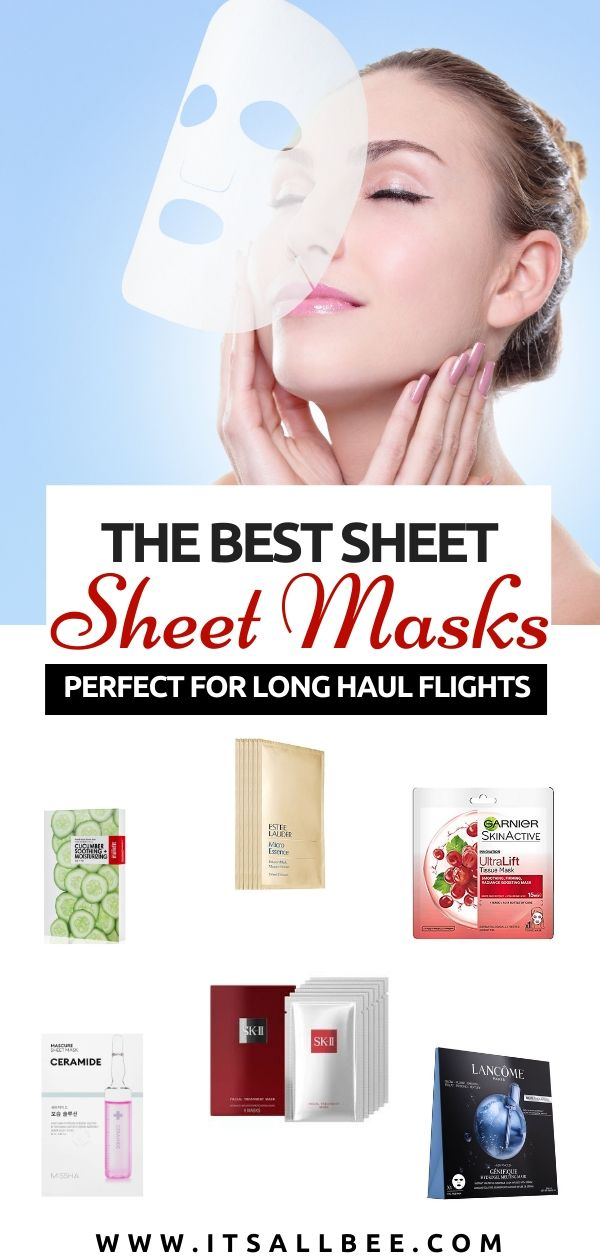 Best sheet masks For Flights - Top 15 moisturising sheet masks perfect for flights to arrive looking rested and refreshed. Includes the best Korean sheet mask, sheet mask for sensitive skin, sheet mask for glowing skin and more. #Garnier #SKII #lemer #esteelauder #itsallbee #clarins #origins #lancome #missha #skincare #beauty #essentials