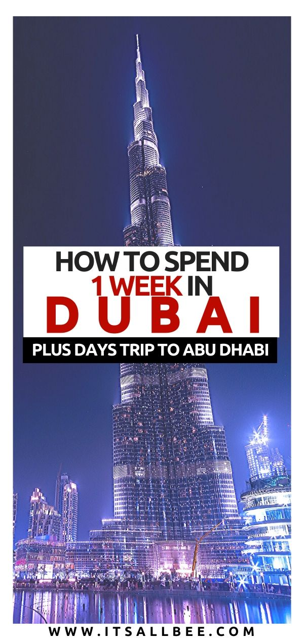 Dubai Itinerary 7 Days - 10 Days - The perfect Dubai itinerary with Abu Dhabi day trips as well as Sharjah. A detailed UAE itinerary filled with adventures. Taking in views from Burj Khalifa, High Tea at Burj Al Arab, trip to Sheikh Zayed Mosque. Cool tours and the best beaches in Dubai to check out. Tips on where to stay in Dubai, what to wear in Dubai and more. Plan your trip to Dubai with ease. #middleeast #traveltips #adventure #arab #emirates