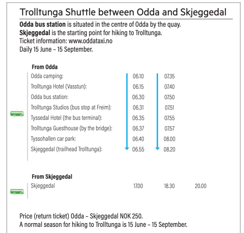 Pick Up Times For The Trolltunga Shuttle From Hotels